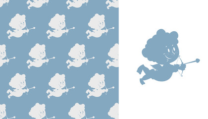 Cupid seamless pattern. Silhouette of Cupid. Cute Angel with bow