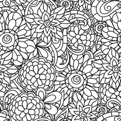 Seamless nature pattern with line flowers for adult coloring page printing and drawing
