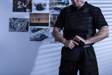 Policeman in police uniform