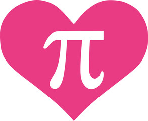 Pi in pink heart