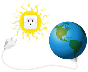 Solar energy - Planet earth with plug and sun with socket. Isolated vector illustration on white background.