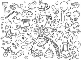 Kindergarten colorless set vector