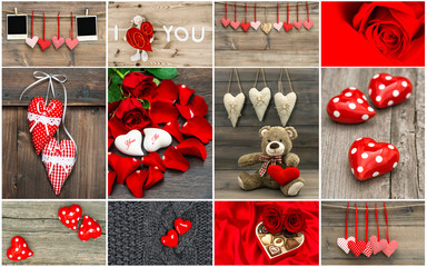Valentines Day card concept. Red hearts, rose flowers, decoratio