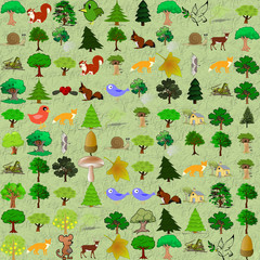 Cartoonish forest pattern. Objects from openclipart.org against the seamless tree background.