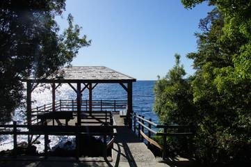 Pier no final da trilha da Laguna Verde, Ensenada, Chile