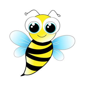 Vecteur fun abeille cartoon fond blanc