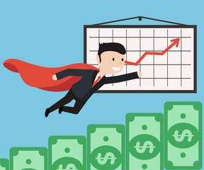 Super Businessman flies up. Business concept illustration.