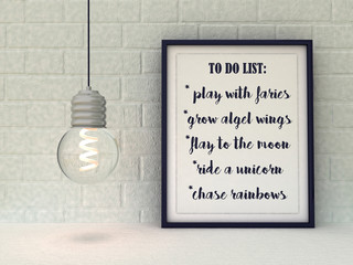 Funny Inspiration Quote To Do List Play with fairies ride unicorn fly moon. Dreaming imagination concept. Children nursery wall art. Womens Present idea.