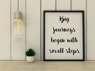 Inspirational motivational quote. Big Journeys Begin With Small Steps. Choice, Grow, Change, Life, Happiness concept. Scandinavian style home interior decoration.