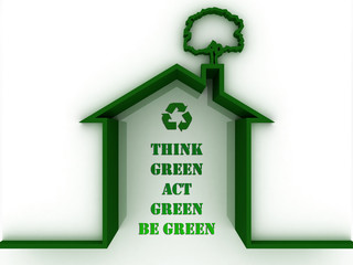 Environmental awareness, ecology concept. Poster with words Thin Green, Act Green, Be green