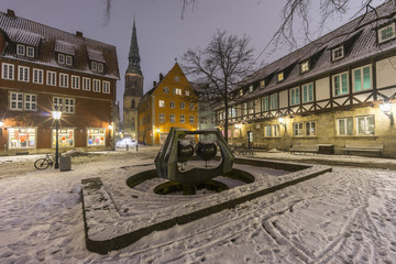 Street view of old town of Hannover at winter night.