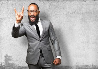 business black man rock gesture