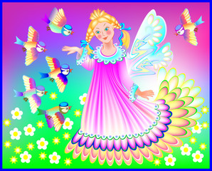 Beautiful fairy in spring, vector cartoon image.