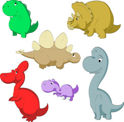 Collection of vector cartoon illustrations of cute dinosaurs.