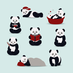 Panda cartoon vector.