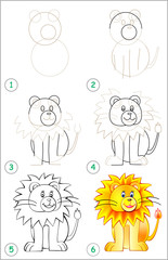 Page shows how to learn step by step to draw a lion. Developing children skills for drawing and coloring. Vector image.