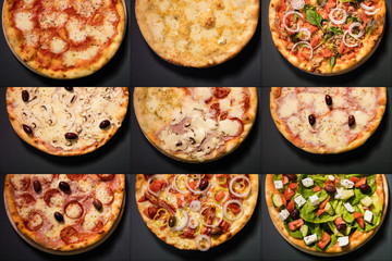 Different types of pizza served on wooden plate