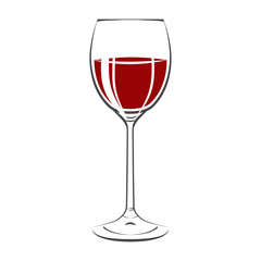 Glass Of Red Wine Icon. Isolated On white background. Vector Ill