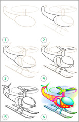 Page shows how to learn step by step to draw a helicopter. Developing children skills for drawing and coloring. Vector image.
