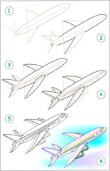 Page shows how to learn step by step to draw a plane. Developing children skills for drawing and coloring. Vector image.
