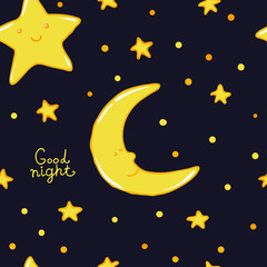 Good Night And Sweet Dreams Seamless Pattern