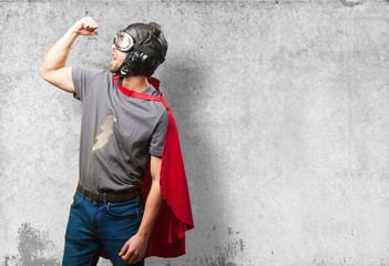 super hero man on white background