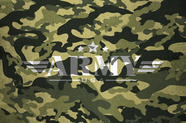 Military army star with camouflage old fabric texture background