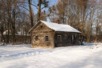 wooden house ,  winter