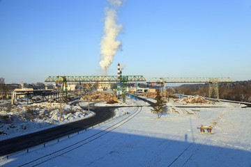 timber mill , winter