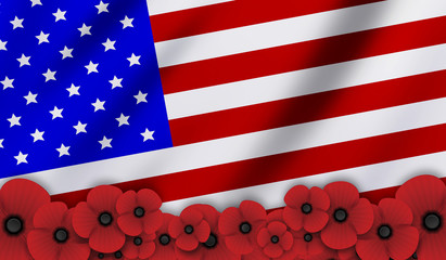 Remembrance Day. USA flag background