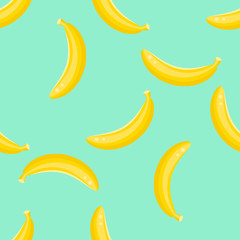 Banana fruit seamless vector pattern. Yellow banana food background on green mint.