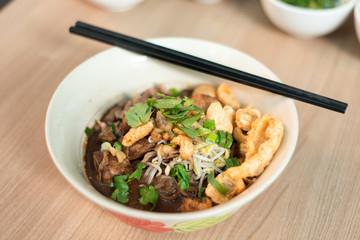 Stew pork noodle.