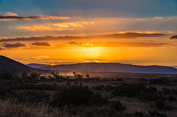 Outback South Australia beautiful orange sunset over the Flinders Ranges