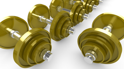 Row of golden weights fitness illustration
