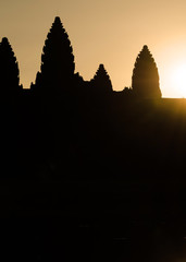 Silhouette of Angkor Wat at sunrise