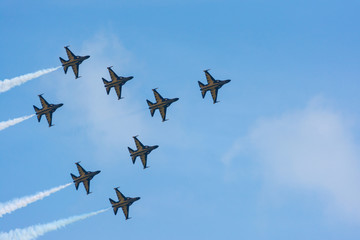 Formation Flying by the Korean Black Eagles Demonstration Team