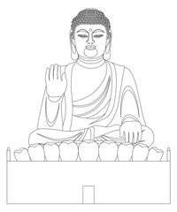 Asian Big Buddha Black and White Line Art Vector Illustration