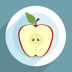 Apple slice on a plate in flat design with long shadow