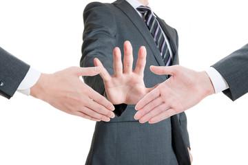 握手を止める男性,ストップ