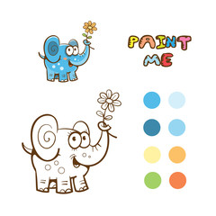 Coloring book  with cute cartoon elephant keeping  flower in a trunk. Vector image.