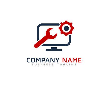 Desktop Repair Service Logo Design Template