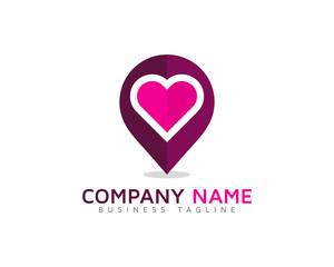 Love Point Locator Logo Design Template