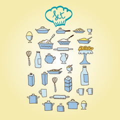 kitchen food colored icon