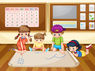 Children drawing on paper in classroom