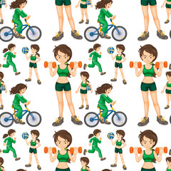 Seamless woman doing exercises