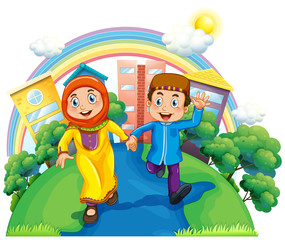 Muslim couple holding hands