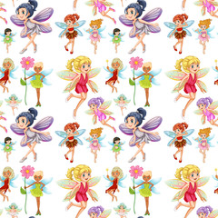 Seamless cute fairies flying
