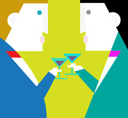 The business party / Two businessman are toast in a party.