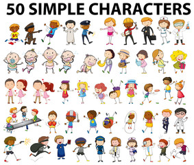 Fifty simple characters doing different things