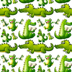 Seamless crocodile doing activities